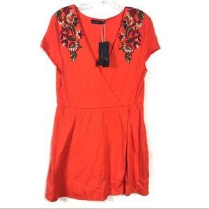 Zara Knit Orange Cotton Dress w/Floral Designs NWT